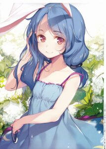 Rating: Safe Score: 96 Tags: animal_ears bunny_ears dress gekidoku_shoujo jpeg_artifacts ke-ta scanning_dust seiran_(touhou) summer_dress touhou User: nxsrn