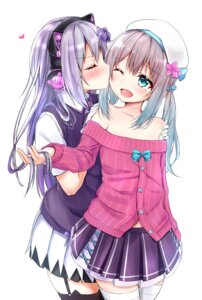 Rating: Safe Score: 20 Tags: animal_ears hanamachi_sumire headphones iriam mia_(iriam) nekomimi seifuku stockings sweater tagme thighhighs yuri User: hiroimo2