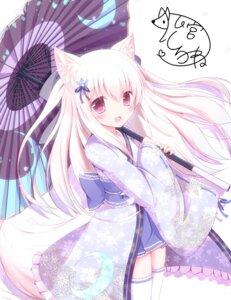 Rating: Safe Score: 80 Tags: animal_ears autographed kimono komiya_shirone lolita_fashion tail thighhighs umbrella wa_lolita User: Mr_GT