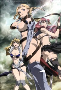 Rating: Questionable Score: 53 Tags: armor ass claudette cleavage elina leina miyazawa_tsutomu queen's_blade sword thighhighs torn_clothes weapon User: YamatoBomber