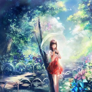Rating: Safe Score: 64 Tags: dress moemoe3345 thighhighs umbrella watercolor User: 椎名深夏