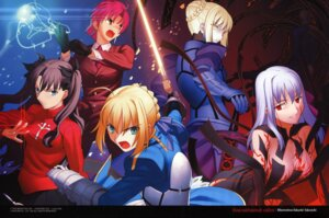 Rating: Questionable Score: 24 Tags: armor bazett_fraga_mcremitz cleavage dark_sakura fate/stay_night matou_sakura saber saber_alter sword takeuchi_takashi toosaka_rin type-moon User: Velen