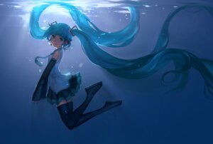 Rating: Safe Score: 41 Tags: hanyijie hatsune_miku headphones thighhighs vocaloid User: Zenex