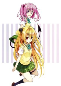 Rating: Safe Score: 36 Tags: devil garter golden_darkness nana_asta_deviluke seifuku skirt_lift tail to_love_ru to_love_ru_darkness yabuki_kentarou User: Mr_GT