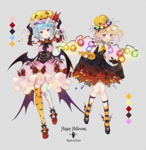 Rating: Safe Score: 21 Tags: dress ekita_gen flandre_scarlet halloween remilia_scarlet skirt_lift thighhighs touhou wings User: Mr_GT