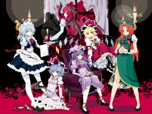 Rating: Safe Score: 29 Tags: flandre_scarlet hebata hong_meiling izayoi_sakuya koakuma patchouli_knowledge remilia_scarlet touhou wallpaper User: Radioactive