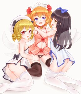 Rating: Questionable Score: 38 Tags: ass bushi_(1622035441) cleavage lingerie loli luna_child nopan pantsu star_sapphire sunny_milk thighhighs touhou wings User: BattlequeenYume