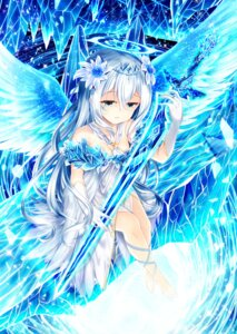 Rating: Safe Score: 10 Tags: akiraon cleavage dress sword wings User: BattlequeenYume