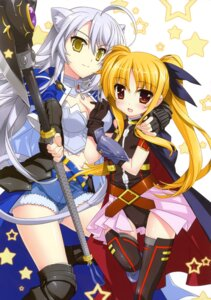 Rating: Questionable Score: 37 Tags: dog_days fate_testarossa fujima_takuya leonmitchelli_galette_des_rois mahou_shoujo_lyrical_nanoha User: crim