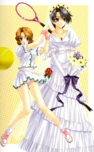 Rating: Questionable Score: 8 Tags: dress futaba_riho kimizuka_aoi love_songs pantsu tennis wedding_dress User: Davison