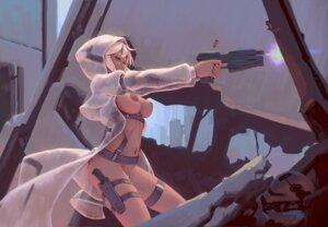 Rating: Questionable Score: 54 Tags: bigrbear breasts gun nipples no_bra nopan open_shirt User: BattlequeenYume