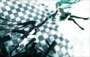 Rating: Safe Score: 9 Tags: bikini_top black_rock_shooter black_rock_shooter_(character) chm hatsune_miku thighhighs vocaloid User: charunetra