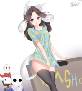 Rating: Safe Score: 23 Tags: animal_ears nekomimi papyrus sans signed tail temmie_(undertale) thighhighs uncle_bill undertale User: mattiasc02