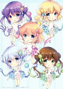 Rating: Safe Score: 25 Tags: amedama_con chibi cleavage dress gochuumon_wa_usagi_desu_ka? hoto_cocoa kafuu_chino kirima_sharo tedeza_rize ujimatsu_chiya User: kiyoe