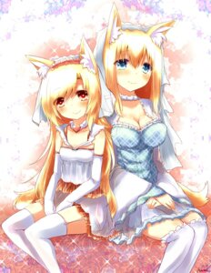 Rating: Safe Score: 41 Tags: animal_ears cleavage dress kitsune naomi_(sekai_no_hate_no_kissaten) tail thighhighs wedding_dress User: 椎名深夏
