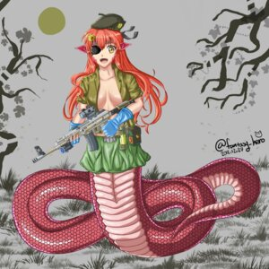 Rating: Questionable Score: 4 Tags: breasts eyepatch gun metal_gear_solid miia_(monster_musume) monster_girl monster_musume_no_iru_nichijou no_bra open_shirt parody pointy_ears tagme tail weapon User: dick_dickinson
