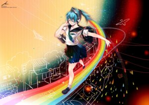 Rating: Safe Score: 21 Tags: hatsune_miku headphones kaninn seifuku vocaloid User: fireattack