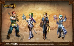 Rating: Questionable Score: 4 Tags: camelot golden_sun karis matthew nintendo rief tyrell wallpaper User: fly24