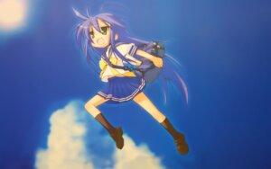 Rating: Safe Score: 10 Tags: izumi_konata lucky_star parody seifuku toki_wo_kakeru_shoujo wallpaper User: boon