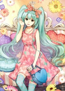 Rating: Safe Score: 23 Tags: dress hatsune_miku hidari thighhighs vocaloid User: Mr_GT