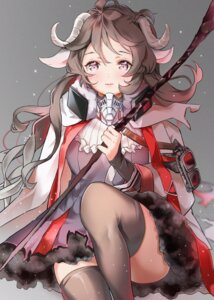 Rating: Questionable Score: 16 Tags: animal_ears arknights dress eyjafjalla_(arknights) horns ktmzlsy720 skirt_lift thighhighs torn_clothes weapon User: Arsy