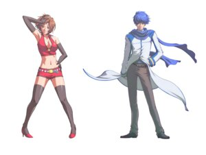 Rating: Safe Score: 8 Tags: cleavage kaito meiko tagme thighhighs vocaloid User: yumichi-sama