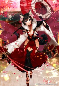 Rating: Safe Score: 62 Tags: animal_ears apt cleavage gyakushuu_no_fantasica tail umbrella User: Mr_GT