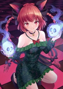 Rating: Questionable Score: 16 Tags: animal_ears dress heels kaenbyou_rin no_bra tagme tail touhou User: Mr_GT