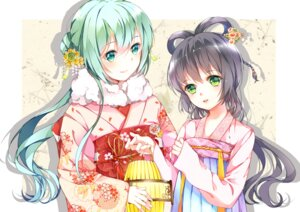 Rating: Safe Score: 30 Tags: asian_clothes hatsune_miku kimono luo_tianyi tei_(52137) vocaloid User: Mr_GT