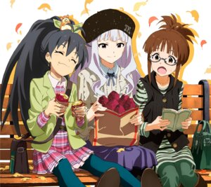 Rating: Safe Score: 25 Tags: akizuki_ritsuko cream disc_cover dress ganaha_hibiki megane pantyhose shijou_takane the_idolm@ster User: blooregardo
