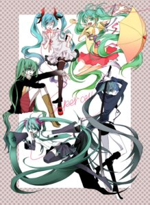 Rating: Safe Score: 12 Tags: black_rock_shooter black_rock_shooter_(character) hajimete_no_koi_ga_owaru_toki_(vocaloid) hatsune_miku koi_wa_sensou_(vocaloid) melt_(vocaloid) naoto sword thighhighs vocaloid world_is_mine_(vocaloid) User: anaraquelk2