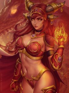 Rating: Safe Score: 25 Tags: alexstrasza_the_life_binder armor bikini_armor cleavage horns mirco_cabbia monster world_of_warcraft User: Darkthought75