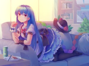 Rating: Safe Score: 23 Tags: hinanawi_tenshi konpaku_youmu mechrailgun pantyhose skirt_lift touhou User: Mr_GT