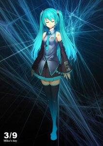 Rating: Safe Score: 33 Tags: hatsune_miku kunieda thighhighs vocaloid User: fireattack