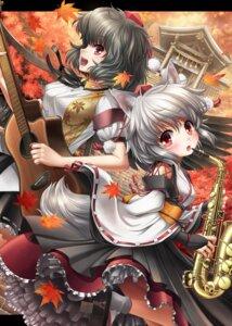 Rating: Safe Score: 23 Tags: animal_ears guitar inubashiri_momiji kei_traum shameimaru_aya tail touhou User: hobbito