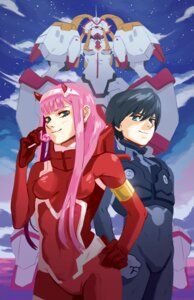 Rating: Safe Score: 2 Tags: bodysuit christianblaza darling_in_the_franxx hiro_(darling_in_the_franxx) horns mecha strelizia zero_two_(darling_in_the_franxx) User: 川俣慎一郎