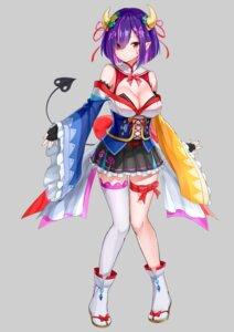 Rating: Safe Score: 10 Tags: cleavage horns japanese_clothes maeshimashi pointy_ears tail thighhighs tsukuyomi_shizuku User: saemonnokami