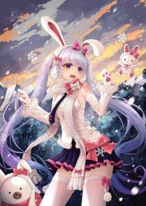 Rating: Safe Score: 21 Tags: animal_ears bunny_ears hatsune_miku tattoo thighhighs vocaloid yuka865 yuki_miku User: Dreista