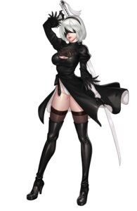 Rating: Questionable Score: 47 Tags: cleavage dress heels karmiel leotard nier_automata sword thighhighs yorha_no.2_type_b User: charunetra