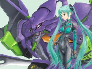 Rating: Questionable Score: 49 Tags: bodysuit cameltoe crossover erect_nipples hatsune_miku mecha neon_genesis_evangelion rasukaru vocaloid wallpaper User: Debbie