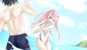 Rating: Safe Score: 15 Tags: cleavage darling_in_the_franxx hiro_(darling_in_the_franxx) horns swimsuits wet xwaterice zero_two_(darling_in_the_franxx) User: 川俣慎一郎