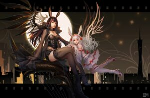 Rating: Safe Score: 35 Tags: animal_ears bunny_ears cleavage dress garter pcw thighhighs wings User: blooregardo