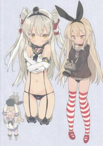 Rating: Questionable Score: 36 Tags: amatsukaze_(kancolle) blade breast_hold chibi cosplay kantai_collection pantsu seifuku shimakaze_(kancolle) thighhighs User: chikiunokami