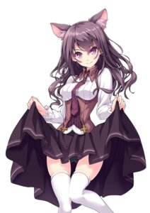 Rating: Safe Score: 11 Tags: animal_ears hinoki_yuu pantsu skirt_lift thighhighs User: Mr_GT