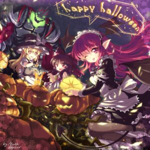 Rating: Safe Score: 31 Tags: abyss_of_parliament hakurei_reimu halloween kirisame_marisa koakuma maid pantyhose tail touhou witch User: blooregardo