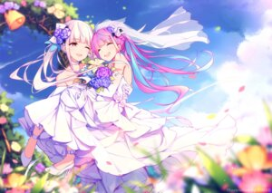 Rating: Safe Score: 57 Tags: crossover dress heels hololive kagura_mea minato_aqua project_paryi timeo wedding_dress yuri User: yanis