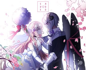 Rating: Questionable Score: 7 Tags: add_(elsword) dress elsword eve_(elsword) horns tagme wedding_dress wings User: kail28391