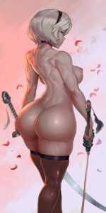 Rating: Questionable Score: 61 Tags: ass naked nier_automata nipples robutts sword thighhighs yorha_no.2_type_b User: charunetra