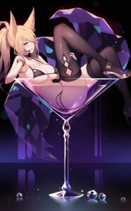 Rating: Questionable Score: 71 Tags: ahri animal_ears bikini heels league_of_legends nanoless swimsuits tail thighhighs wet User: Mr_GT
