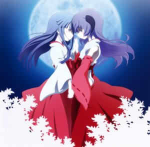 Rating: Safe Score: 42 Tags: furude_rika hanyuu higurashi_no_naku_koro_ni horns miko sakai_kyuuta symmetrical_docking User: Radioactive